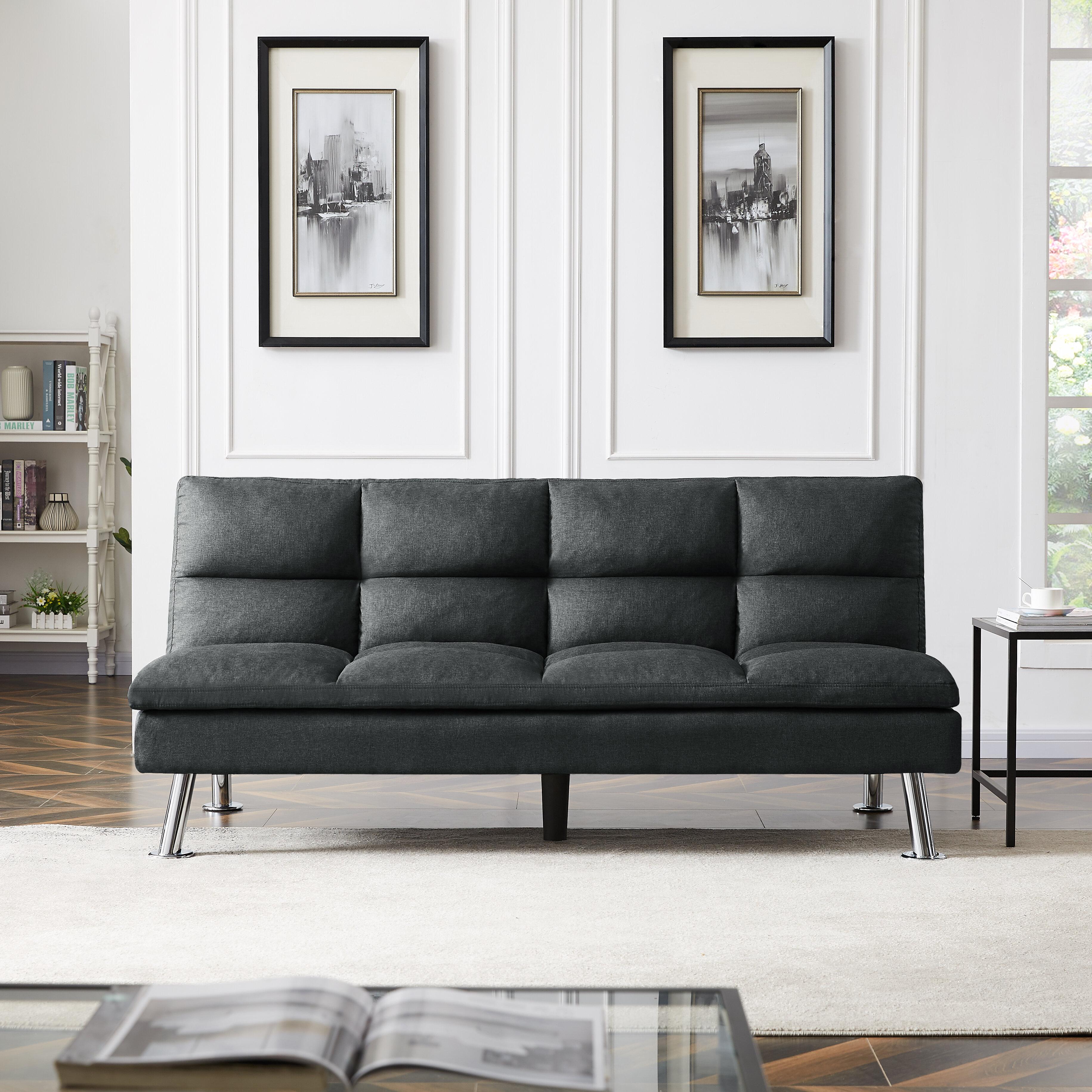 Latitude Run Twin Or Smaller Tufted Back Convertible Sofa Wayfair Ca