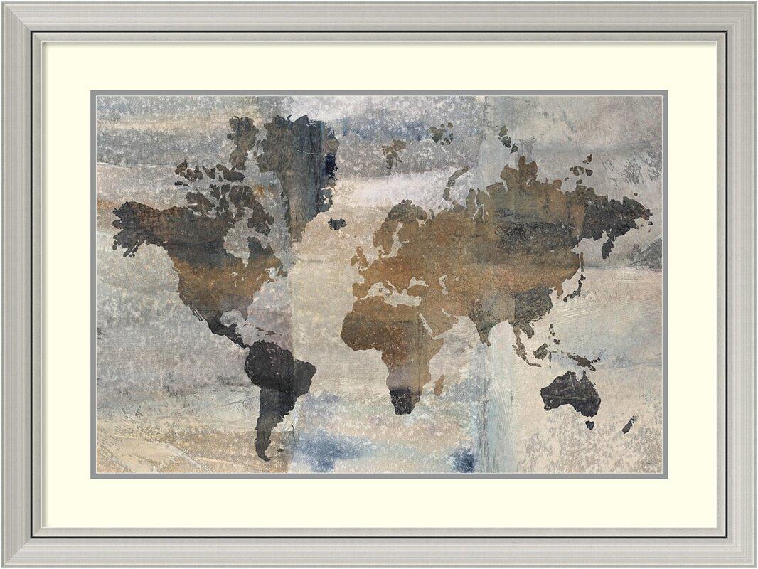 Trent austin design stone world map framed graphic art print stone world map framed graphic art print gumiabroncs Images