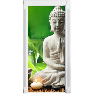 Water Lily With Buddha Statue Door Sticker By East Urban Home