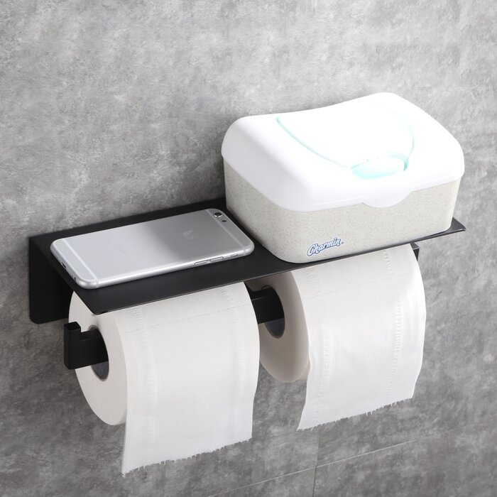 Double Roll Stainless Steel Wall Mount Toilet Paper Holder With Phone Shelf