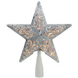 """8.5"""" Glitter Star Cut-Out Design Christmas Tree Topper"""