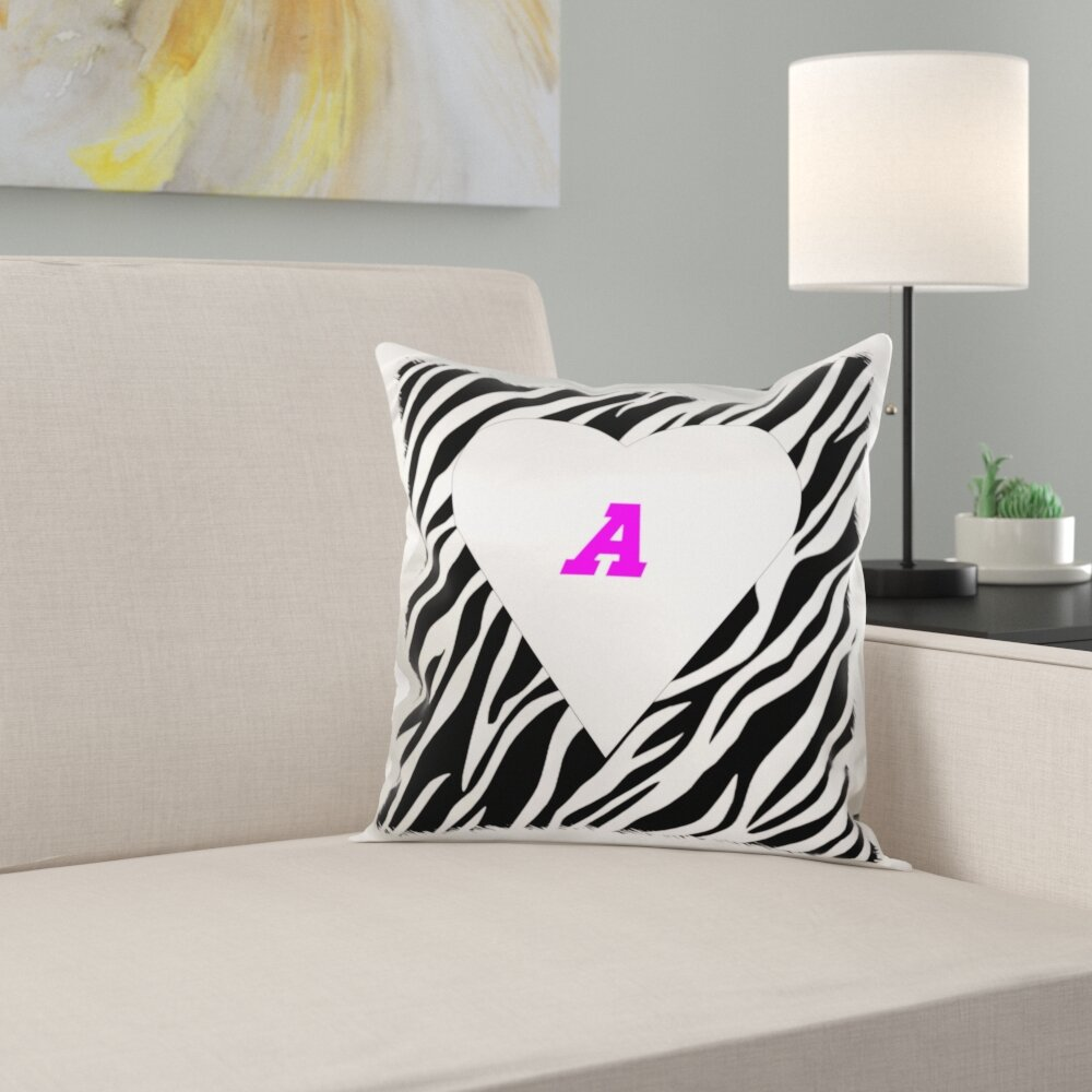 East Urban Home Heart On Zebra With Letter A Pillow Cover Wayfair