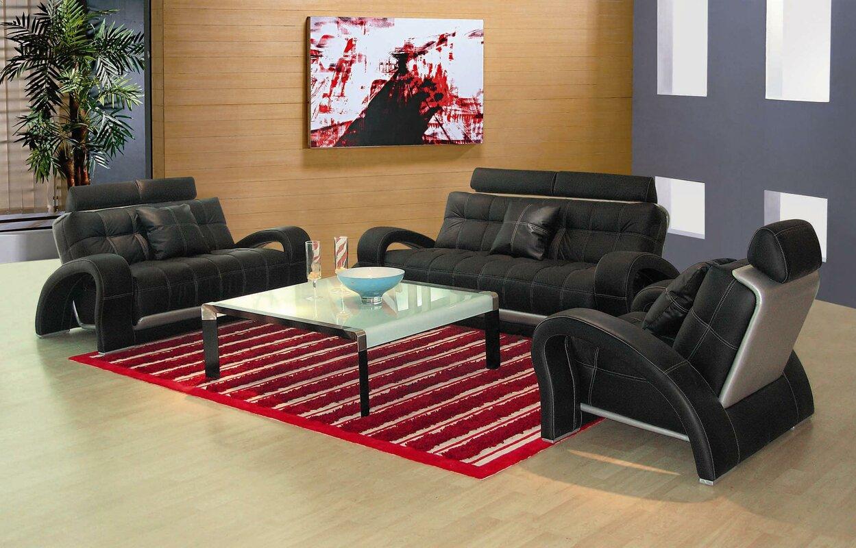 Arthur Leather 3 Piece Living Room Set