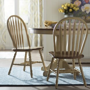 Clyde Arrow Back Solid Wood Dining Chair (Set of 2) Alcott Hill