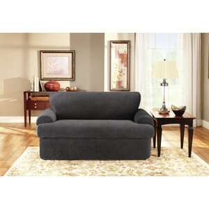 Stretch Pique T-Cushion Loveseat Slipcover Set