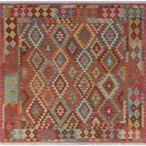 One-of-a-Kind Vallejo Kilim Mirwais Hand-Woven Wool Red Area Rug