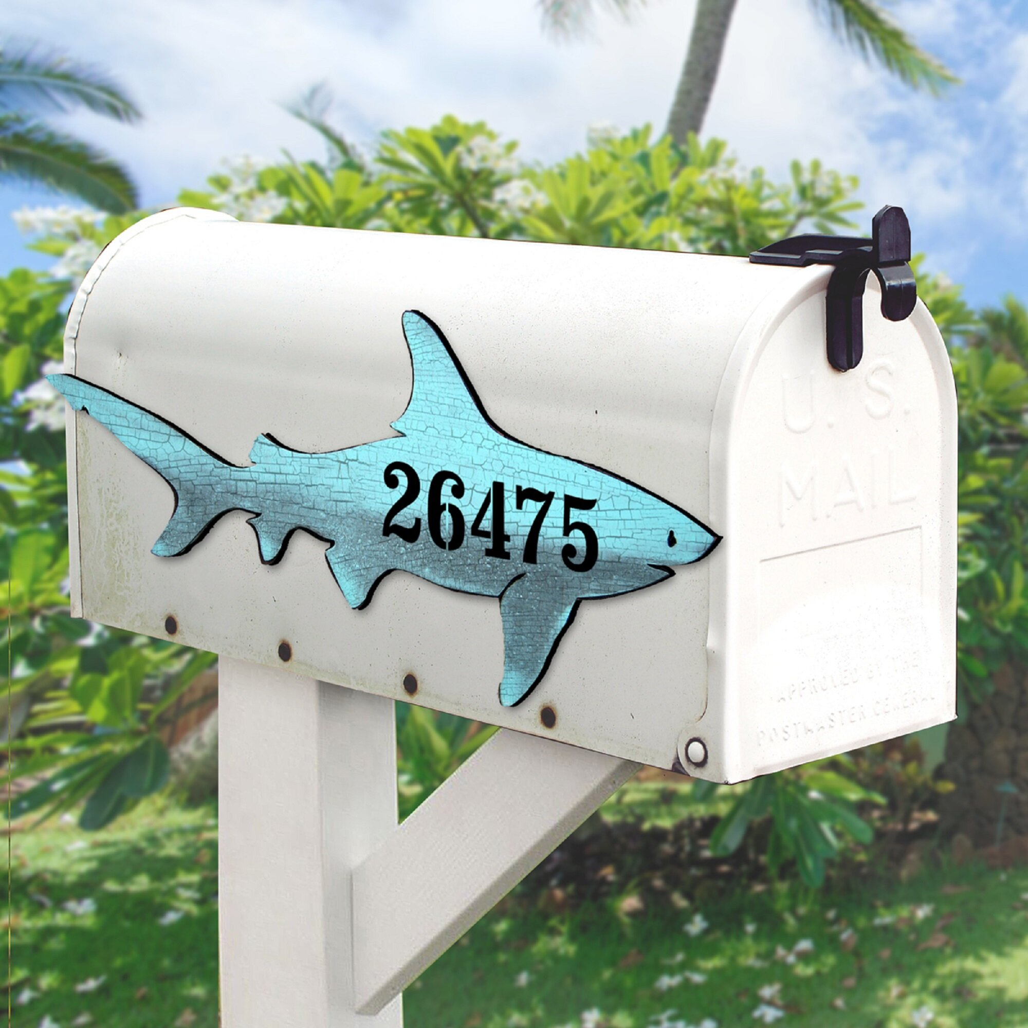 Designocracy Shark House Door Wall Mailbox Address Number 1 Line Plaque Coastal Decor Sign Wayfair