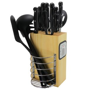 Total Kitchen 25 Piece Knife Block Set with Storage