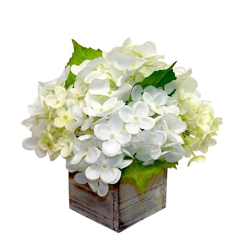Three Posts Farmhouse Hydrangeas Floral Arrangement In Planter