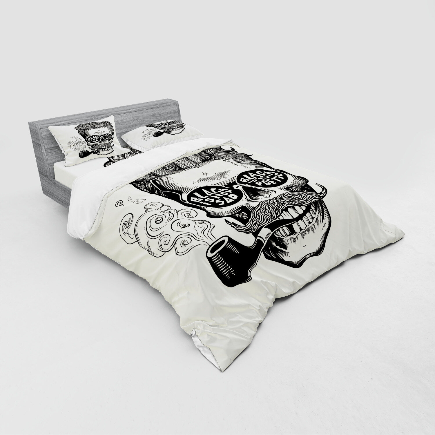 East Urban Home Ambesonne Indie Bedding Set Hipster Gentleman Skull With Moustache Pipe And Eyeglasses With Inscription Vintage 4 Piece Duvet Cover Set With Shams And Fitted Sheet Queen Size Black Cream