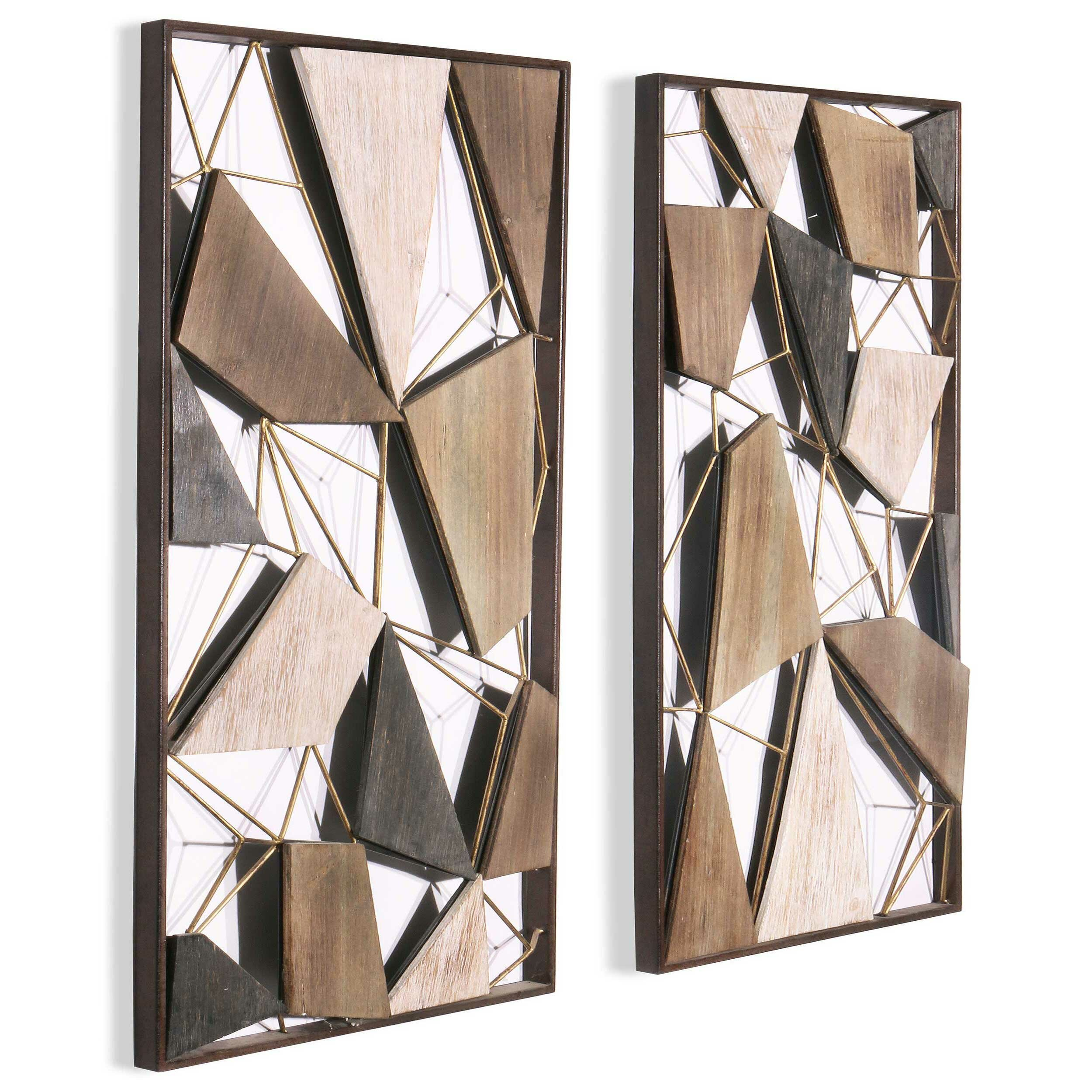 Modern Rustic Interiors 2 Piece Geometric Wood And Metal