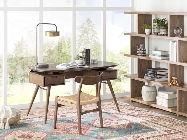 Oak Trendy White Desk Concepts Mid-Century Office Design