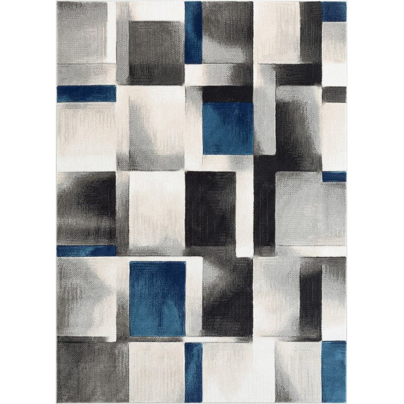 Well Woven Good Vibes Louisa Modern Geometric Boxes Blue Gray