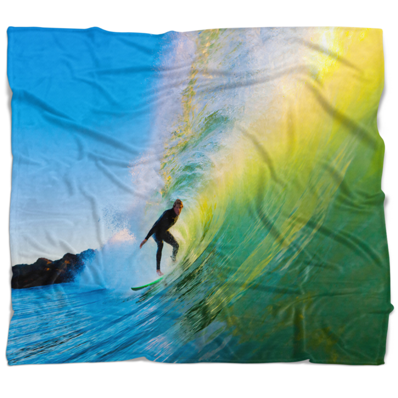 East Urban Home Photography Surfer Beating Waves Blanket Wayfair