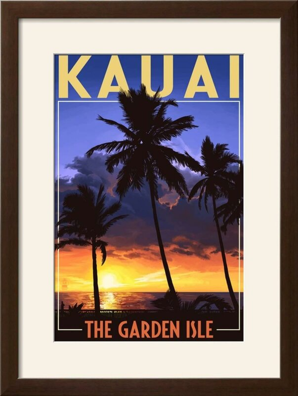 U0027Kauai, Hawaii   The Garden Isle   Palms And Sunsetu0027 Framed Vintage  Advertisement. U0027