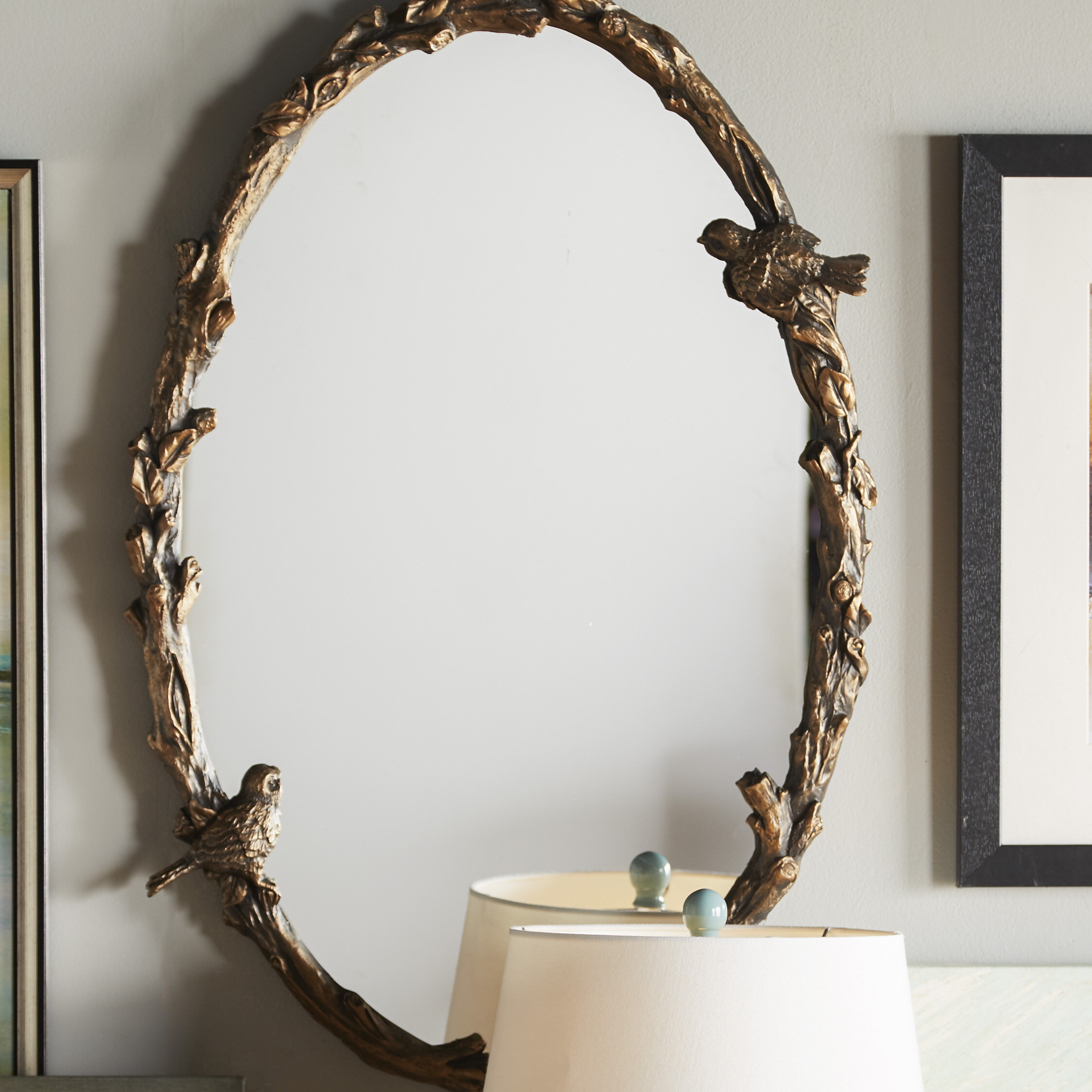 One Allium Way Oval Mirror In Antique Gold Leaf Reviews Wayfair