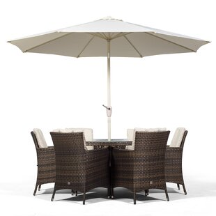 Karcher 6 Seater Dining Set With Cushions And Parasol By Sol 72 Outdoor