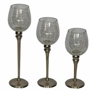 Half Crackled 3 Piece Glass Hurricane Set