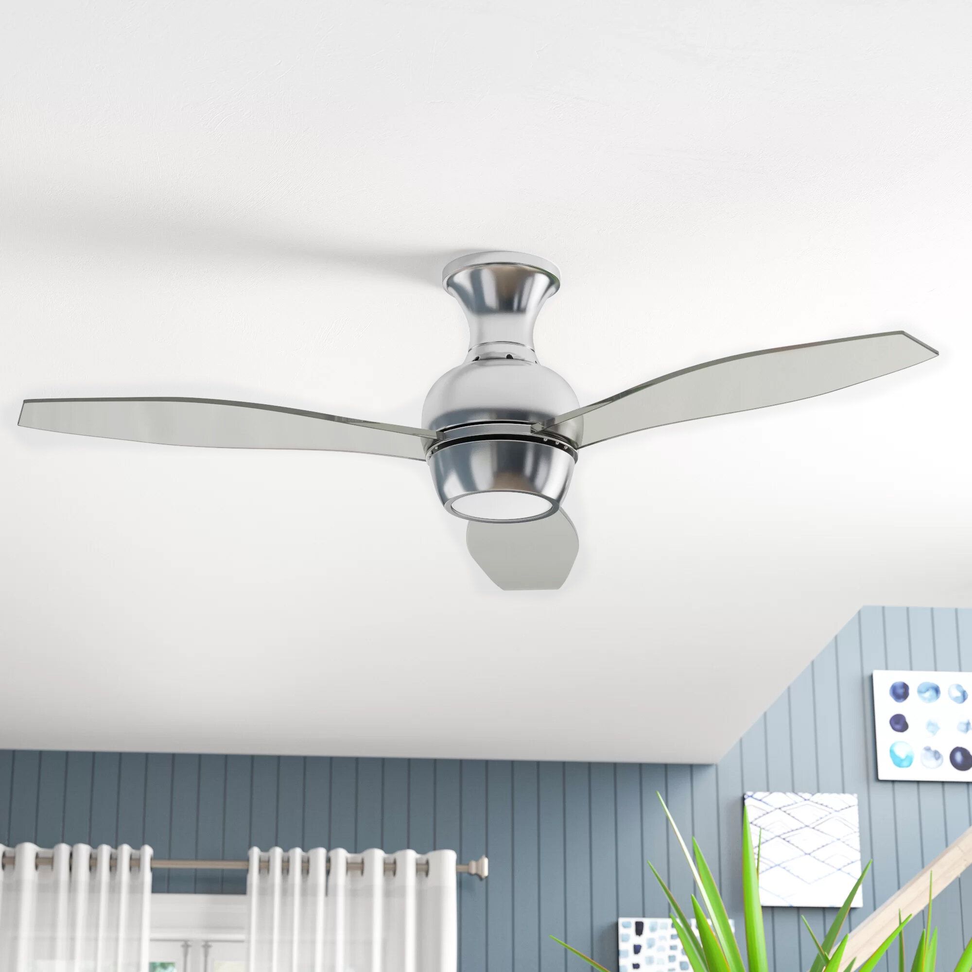 """11"""" Mcnemar 11 - Blade LED Propeller Ceiling Fan with Wall Control and Light  Kit Included"""