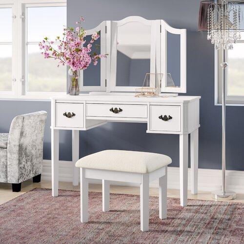 Schminktisch-Set Burton mit Spiegel Canora Grey Farbe: Weiß | Schlafzimmer > Kommoden | Canora Grey