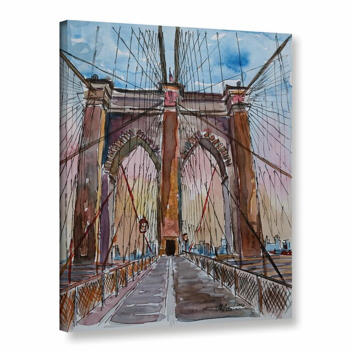 Brooklyn Bridge New York Painting Print On Wrapped Canvas