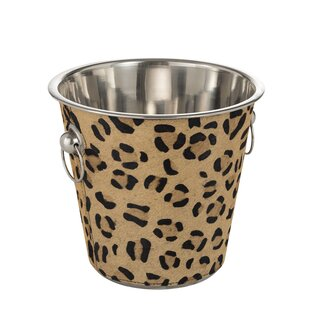 Layfield Leopard Leather Mix Ice Bucket By Bloomsbury Market