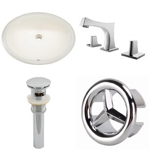 Read Reviews Ceramic Oval Undermount Bathroom Sink with Faucet and Overflow By American Imaginations