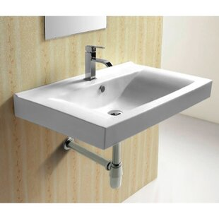 Reviews Ceramic 33 Wall Mount Bathroom Sink with Overflow By Caracalla