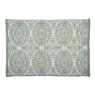 Mandala Hand-Woven Green Indoor/Outdoor Area Rug
