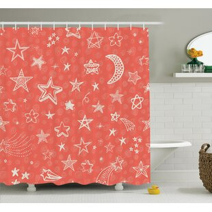 Jessica Moon and Stars Theme Starry Night Shooting Star Space Galaxy Kids Doodle Style Single Shower Curtain