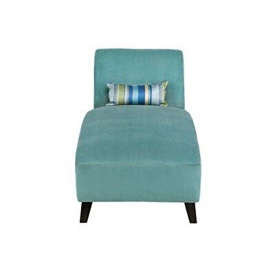 Ebern Designs Braemar Chaise Lounge Upholstery: Soft Turquoise Blue Velvet