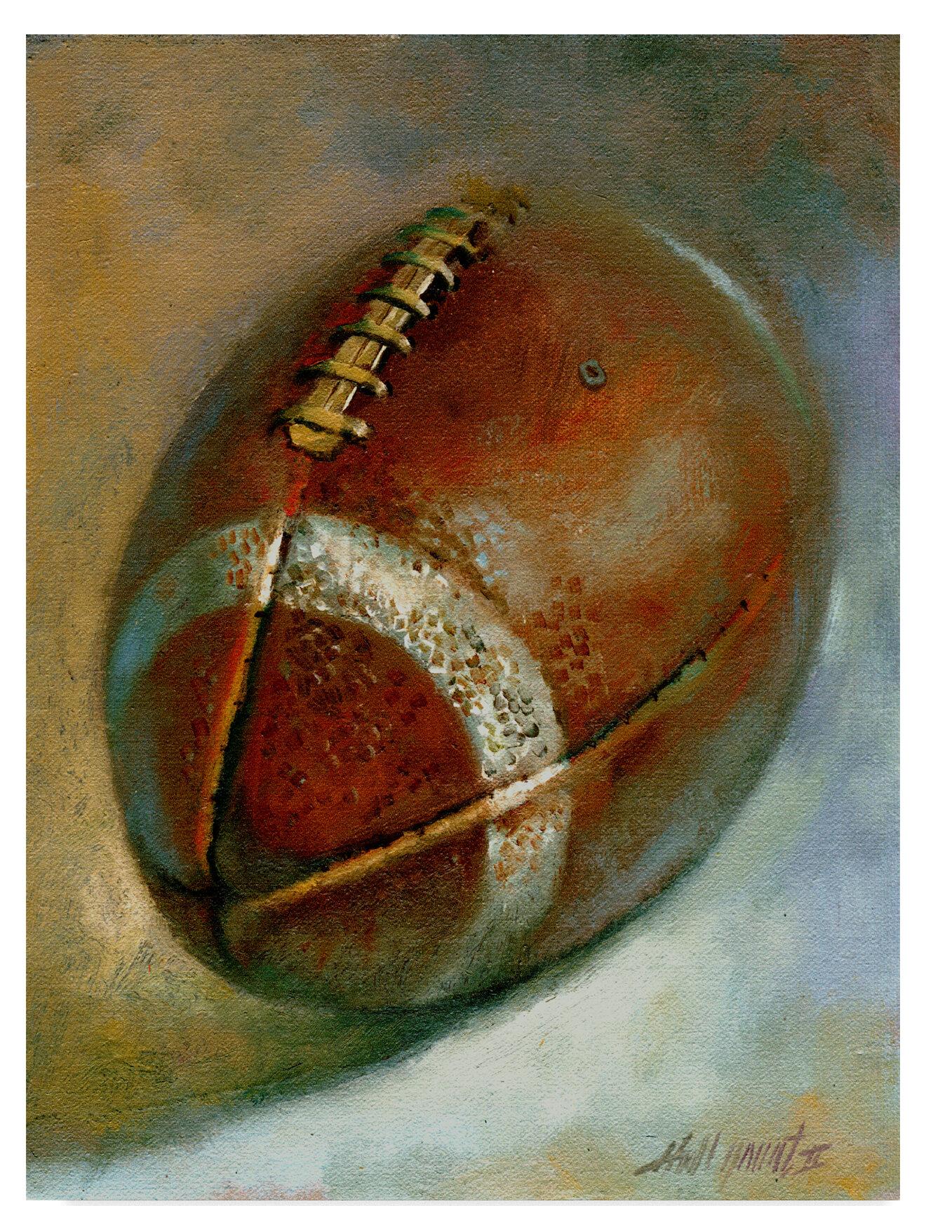 Trademark Art Football Orange Acrylic Painting Print On Wrapped Canvas Reviews Wayfair