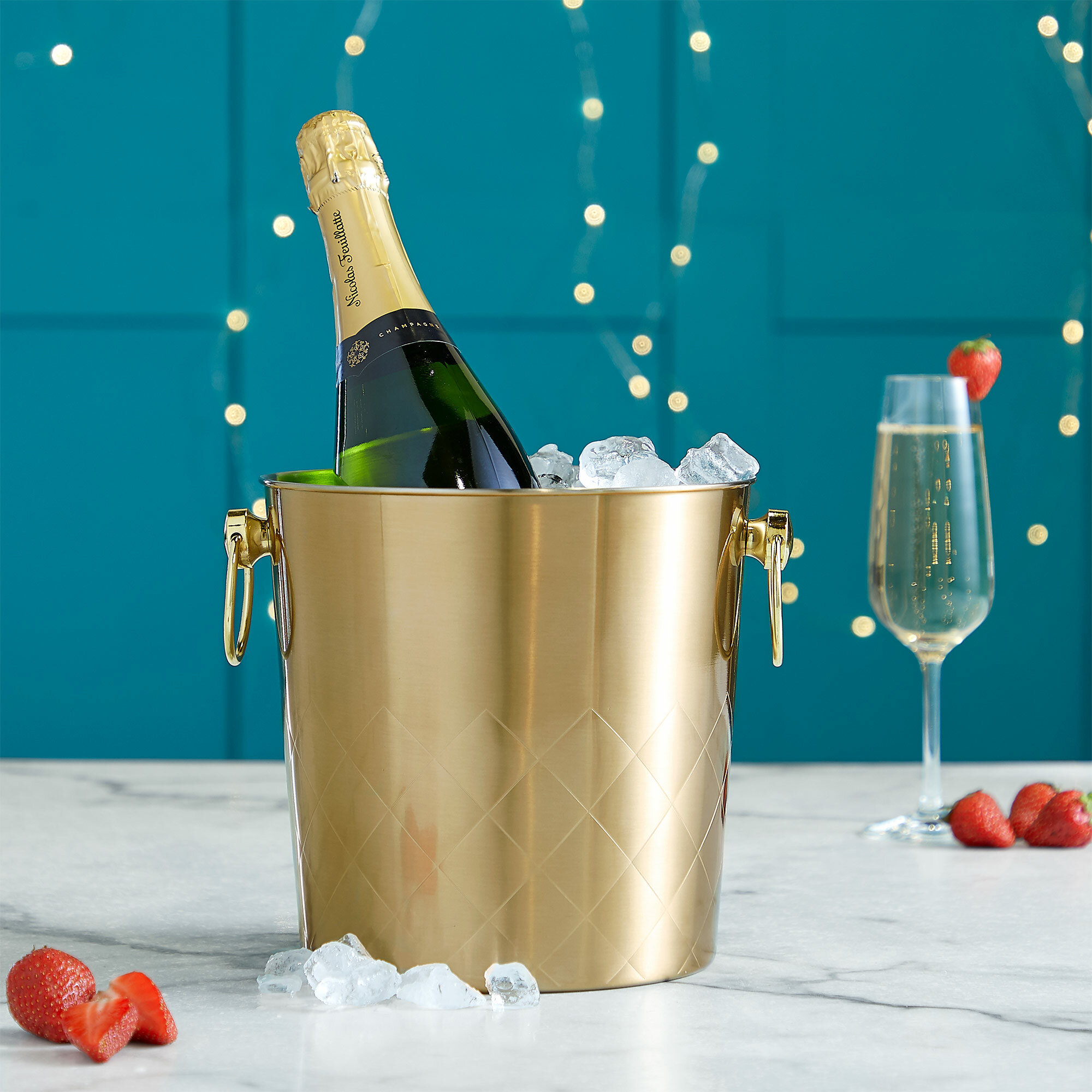 VonShef Champagne Bucket Brushed Gold 5L Carry Handle Stainless Steel Ice Cooler