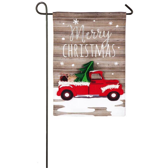 Christmas In Evergreen Truck.Vintage Christmas Truck 2 Sided Polyester 1 6 X 1 Ft Garden Flag