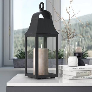 Outdoor Glass and Metal Lantern by Three Posts