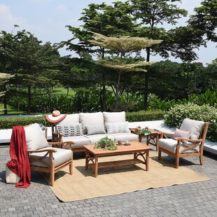 Birch Lane™ Brunswick 5 Piece Teak Sofa Seating Group with Cushions