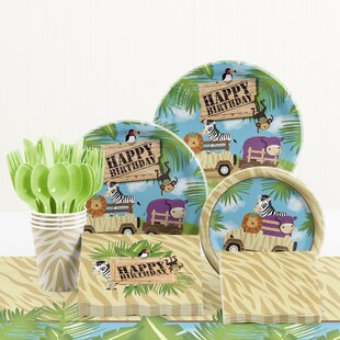 81 Piece Safari Adventure Birthday Paper/Plastic Tableware Set