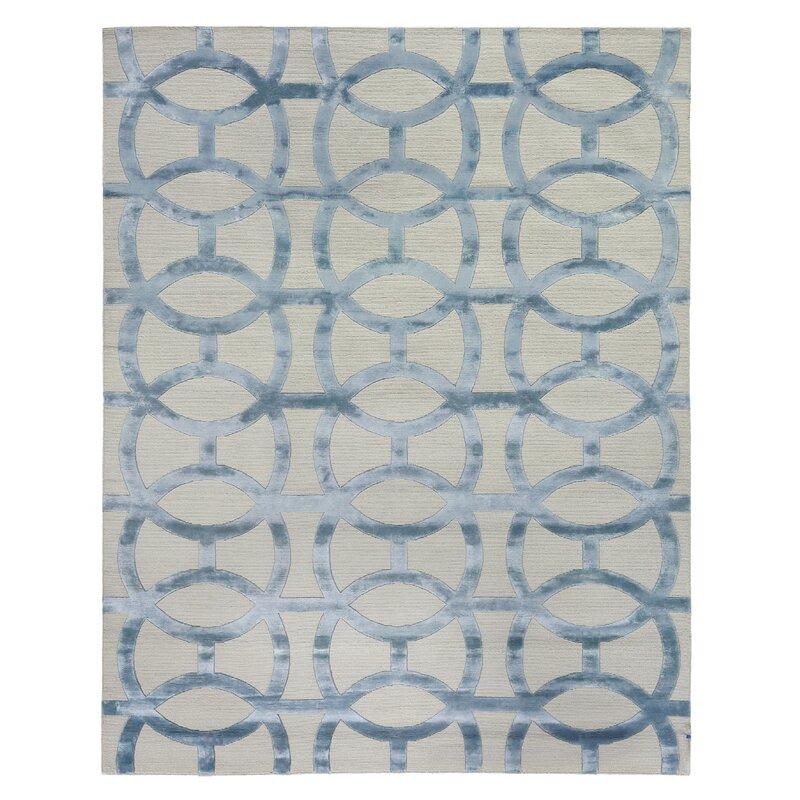 Exquisite Rugs Harmonic Geometri Hand Knotted Wool Gray Blue Area Rug Wayfair