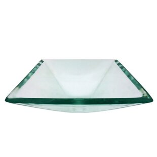 Reviews Diamond Glass Square Vessel Bathroom Sink By Legion Furniture