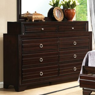 Latitude Run Rose 6 Drawer Double Dresser with Mirror