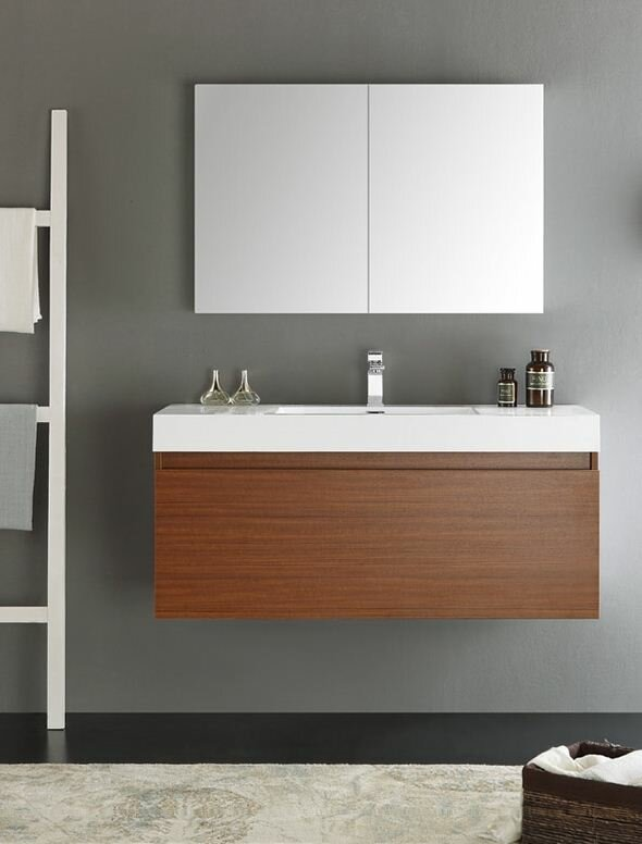 Fresca Senza 48 Quot Mezzo Single Wall Mounted Modern Bathroom Vanity Set With Mirror
