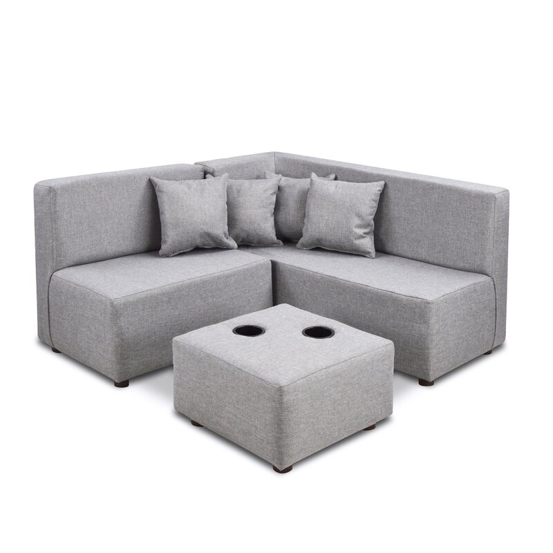 Duval Ash Kids Polyester Sectional and Ottoman with Cup Holder  sc 1 st  Wayfair : kids sectional - Sectionals, Sofas & Couches