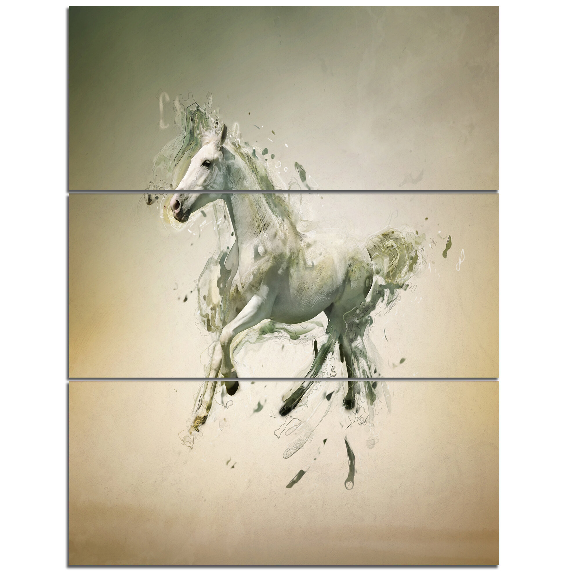 Designart White Horse In Motion On Brown 3 Piece Graphic Art On Wrapped Canvas Set Wayfair