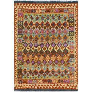 Rosalina Handmade Kilim Wool Rust/Purple Area Rug