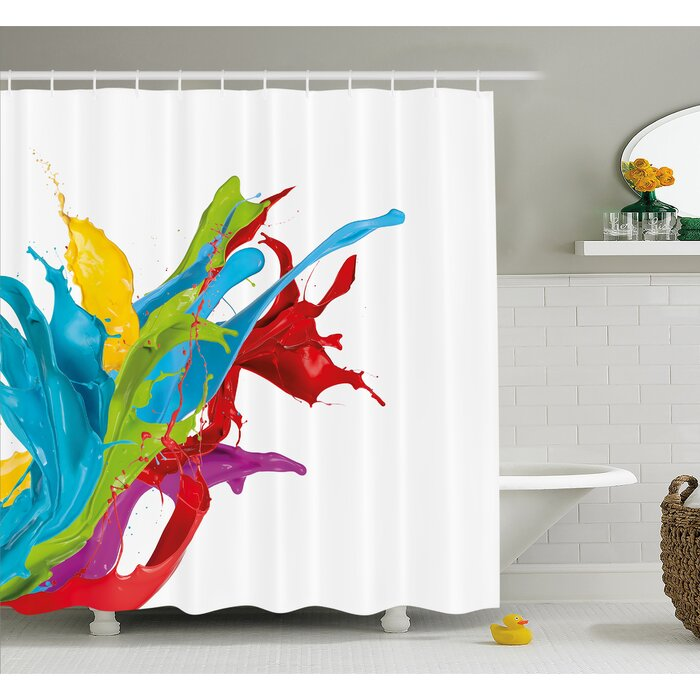 Colourful Home, Surreal Fluid Liquid Flowing Paint Splash Featured Digital  Artful Graphic Shower Curtain Set