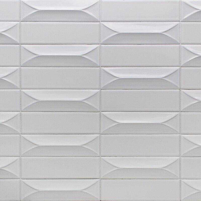 Splashback Tile Vintage 3d 3 X 9 Ceramic Subway Tile In Bianco