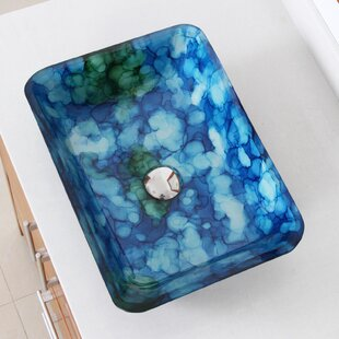 Compare prices Hand Painted Watercolor Flat Bottom Glass Circular Vessel Bathroom Sink By Elite