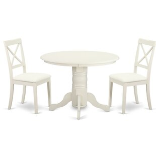 Sherlock 3 Piece Solid Wood Dining Set August Grove