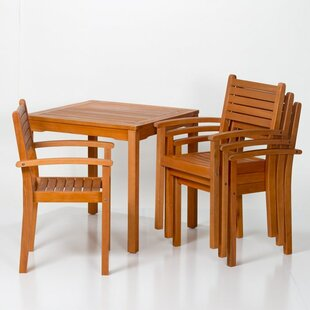 Giesler Eucalyptus Square 5 Piece Dining Set