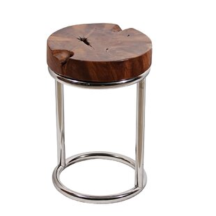 Teak Stainless Steel End Table by Ibolili